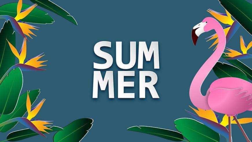 De bannerachtergrond van de de zomerverkoop in document besnoeiingsstijl. Vectorillustratie voor brochure, flyer, reclame, sjabloon voor spandoek.