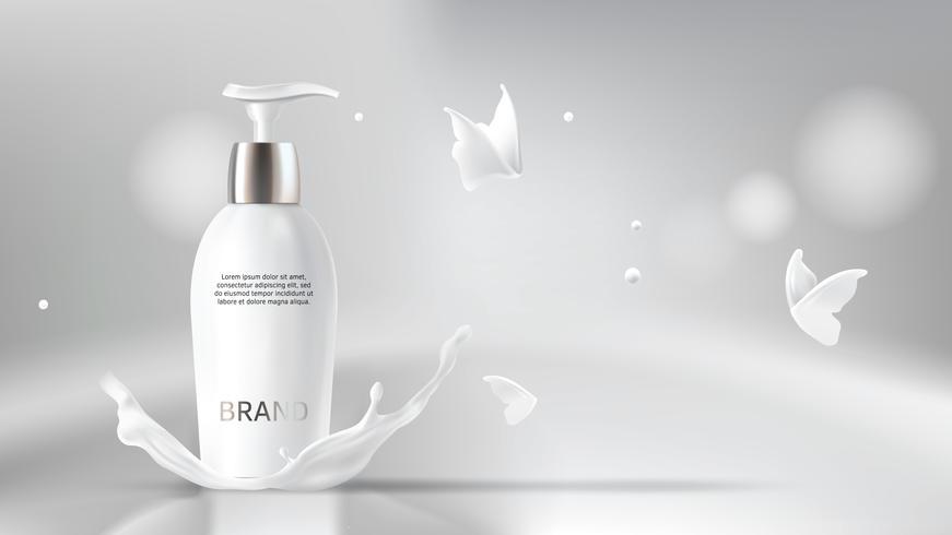 Melk cosmetica realistische vector wazig achtergrond