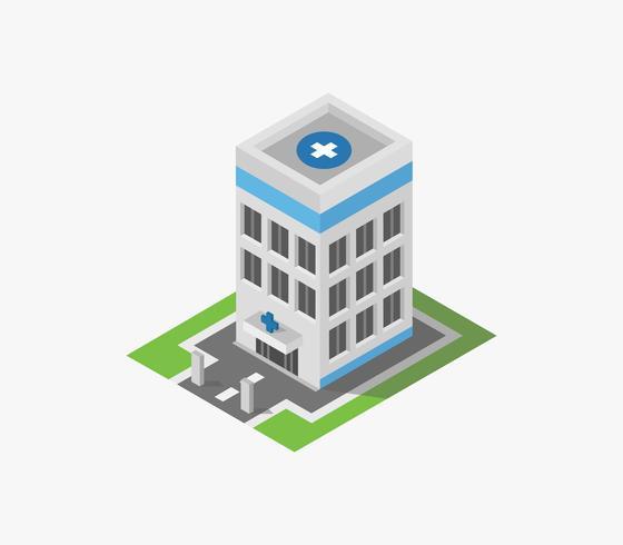 Isometrische Krankenhausikone auf einem weißen Hintergrund