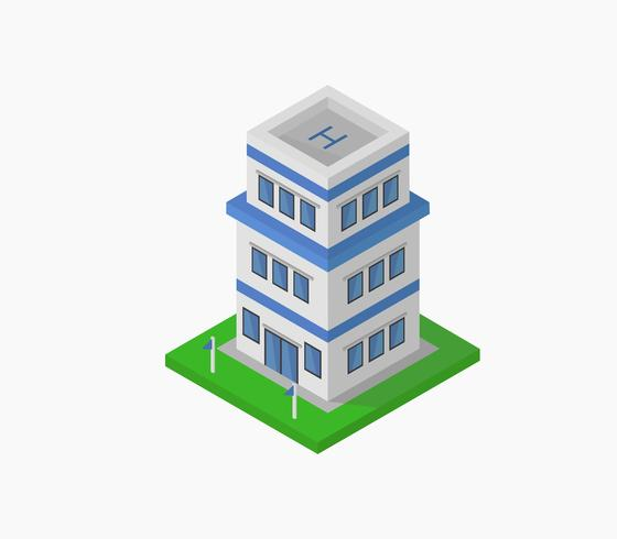 Isometric police station icon on a white background