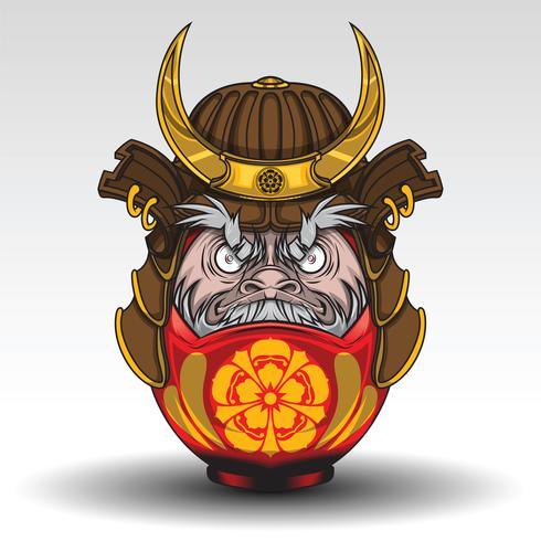 O dall de Daruma tem na armadura do guerreiro do samurai., Conceito da tatuagem.