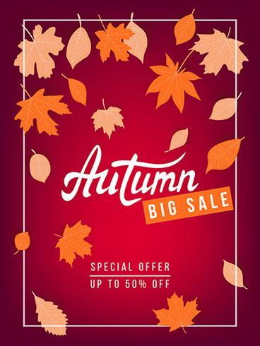 Herfst verkoop vector banner met bladeren