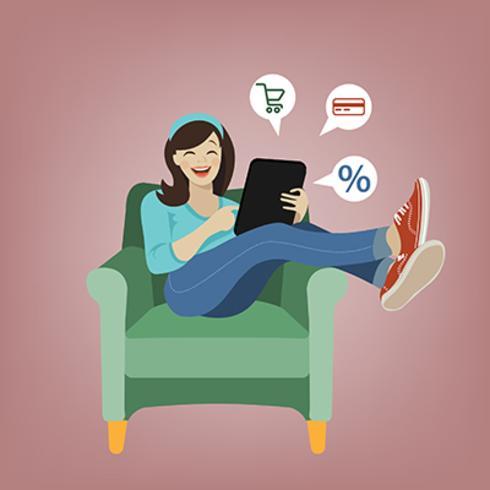 Ilustração em vetor de menina dos desenhos animados de compras on-line
