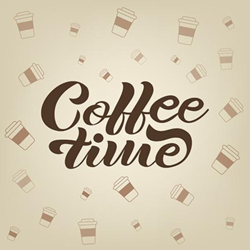 Bannière de lettrage de café dessiné à la main de vecteur