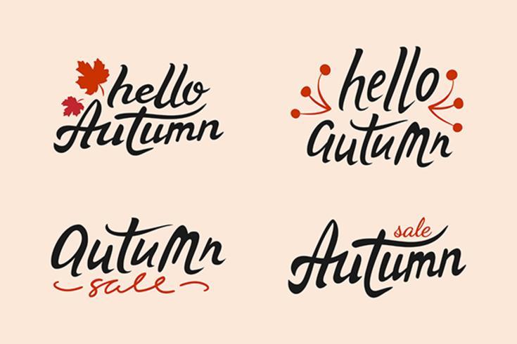 Conjunto de vetor de outono mão desenhada rotulação com folhas