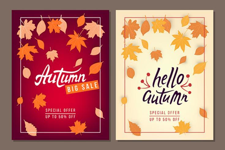Conjunto de banners de vetor de venda outono com folhas
