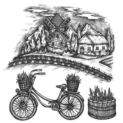 Lavendel fält sommarlandskap. Provence, Frankrike Cykelhandritad vektor skiss, bläck illustration gammal cykel med blommig korg isolerad på vit bakgrund