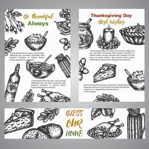 Collection de jour de Thanksgiving broshure d'illustration dessinée à la main avec des éléments de l'automne, nourriture style rétro vintage