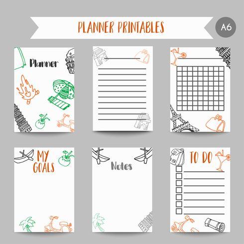 Cartões e símbolos para organizar você planejador. Printables com elementos tarvel. Projeto da torre Eiffel. Modelo de vetor para notebooks
