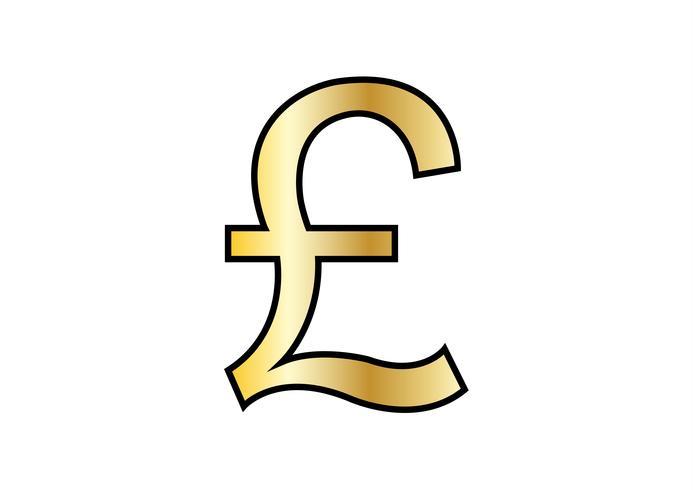 Golden British Pound isolé sur fond blanc