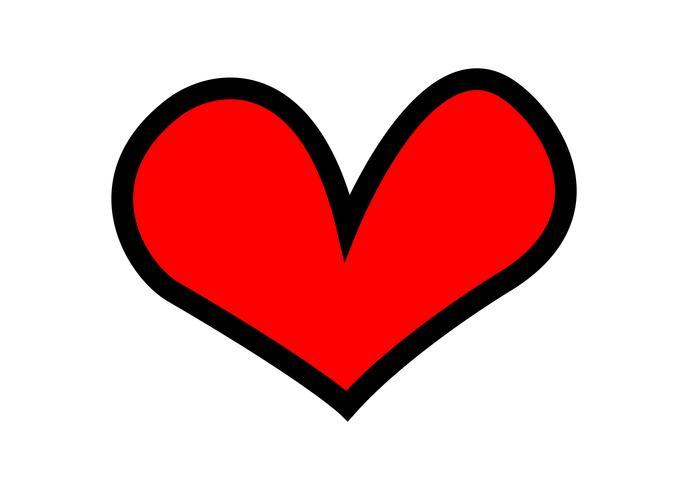 Cartoon red heart vector