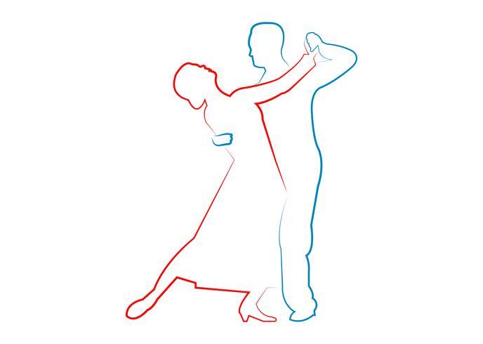 Couple dance contour line art vector