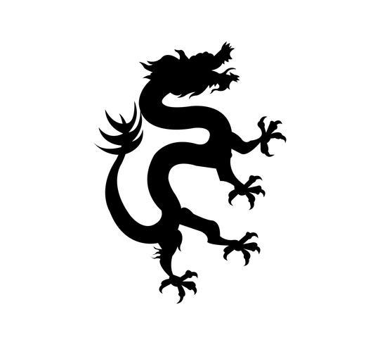 Símbolo do dragão chinês preto