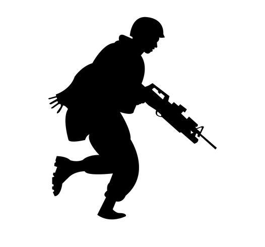 US marine soldier running black silhouette