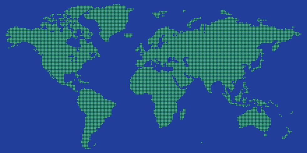 World map vector with green on blue colored round dotted