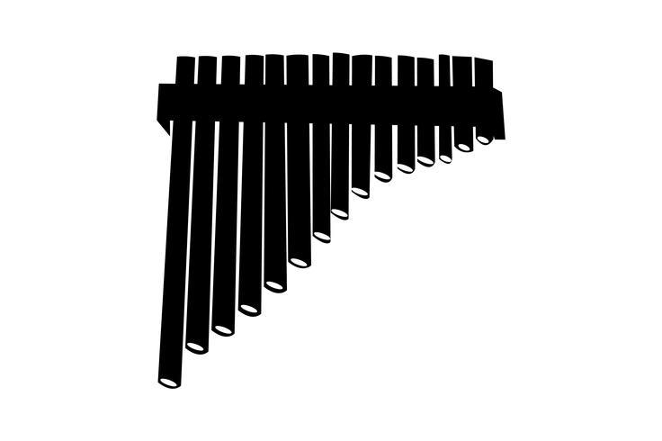 Wooden pipe flute black silhouette