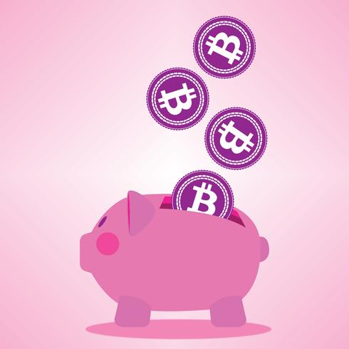 Pink Bitcoin Piggy Bank vector