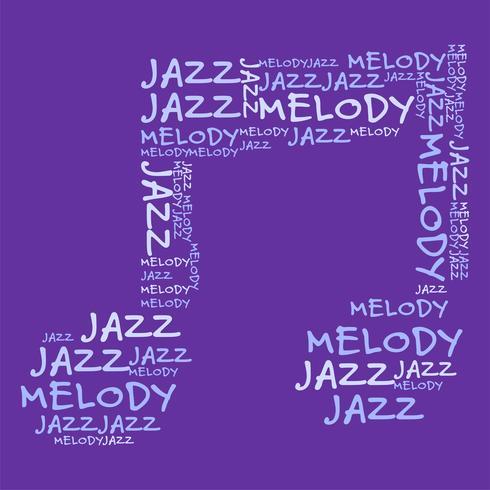 Illustration vectorielle de jazz mélodie fond violet