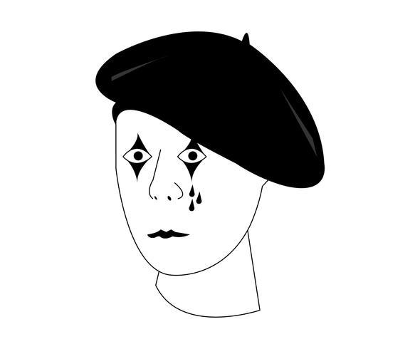Vecteur de tête de mime français sur fond blanc