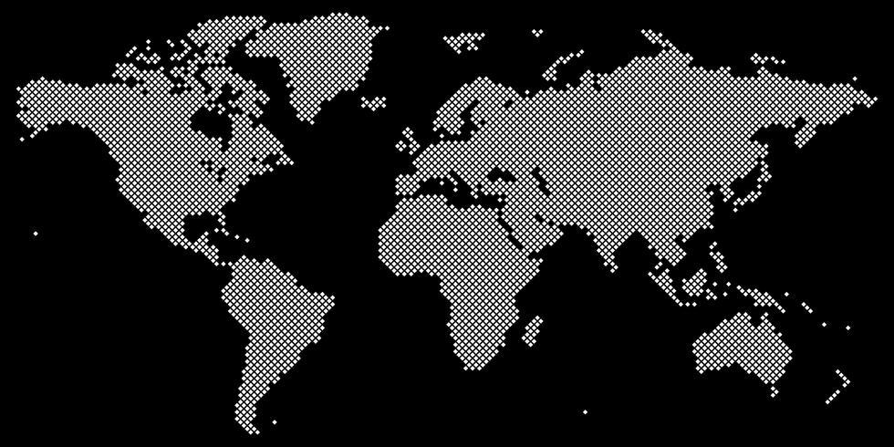 Tetragon world map vector white on black