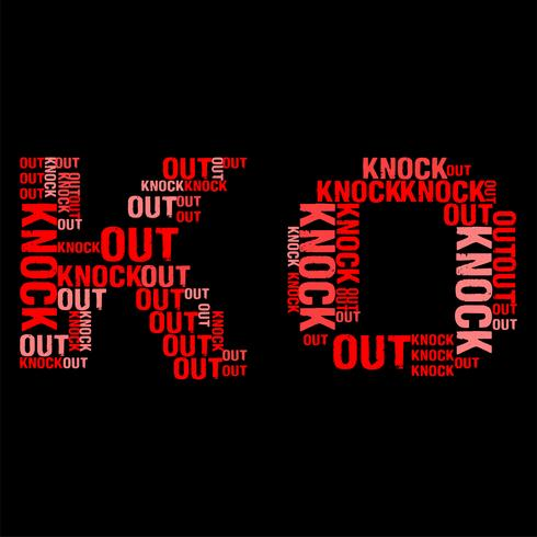 Knock Out Wordcloud Black Background Vector illustration