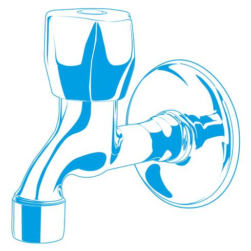 Blue faucet vector illustration