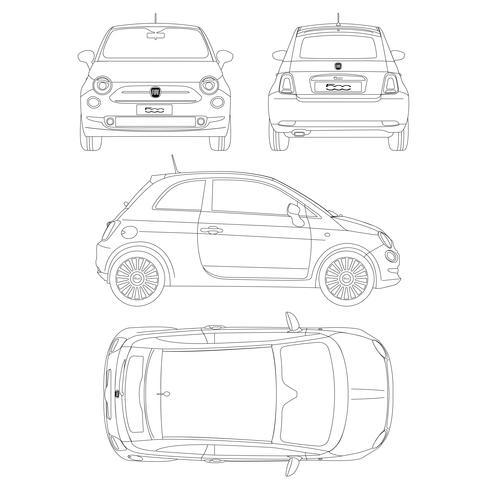 Fiat 500 bil blueptint vektor teknisk ritning