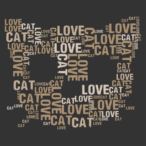 Illustration vectorielle de chat amour mot cloud