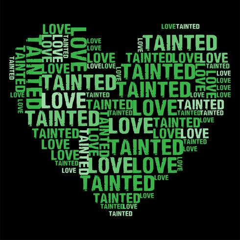 Tainted Love Green Heart Wordcloud ilustração vetorial