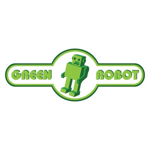 Green robot vector logo