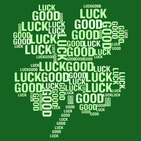 Vector illustration of four leaf clover shaped good luck word cloud