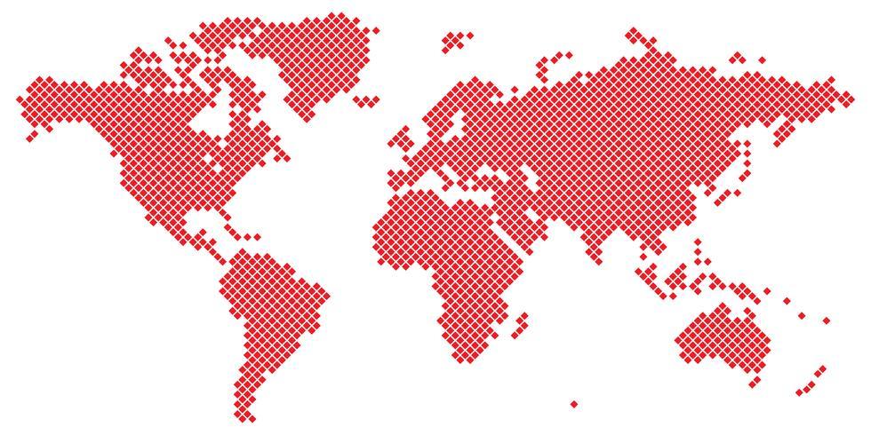 Big Tetragon world map vector red on white