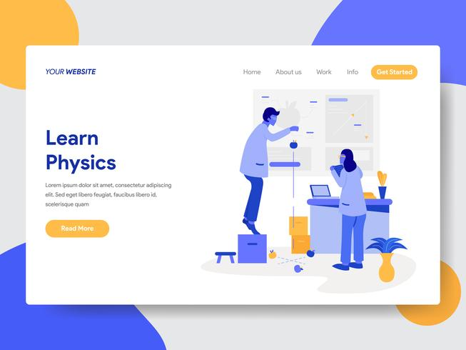 Landing page template of Learn Physics Illustration Concept. Modern flat design concept of web page design for website and mobile website.Vector illustration vector