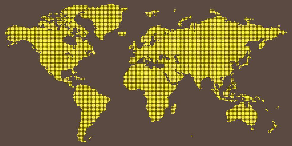 Vetor de mapa mundo com amarelo na luz colorida marrom rodada pontilhada