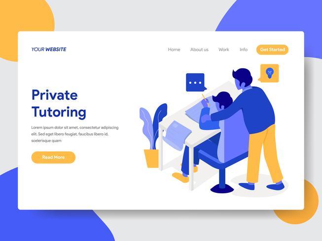 Modello di pagina di destinazione del concetto di illustrazione di tutoraggio privato. Concetto di design piatto moderno di progettazione di pagine Web per sito Web e sito Web mobile. Illustrazione di vettore