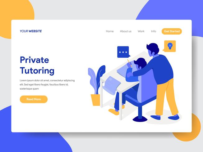 Landing page template of Private Tutoring Illustration  Concept. Modern flat design concept of web page design for website and mobile website.Vector illustration