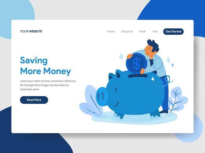 Plantilla de página de destino de Ahorre dinero con el concepto de ilustración de Piggy Bank. Concepto de diseño plano moderno de diseño de página web para sitio web y sitio web móvil. Ilustración de vector