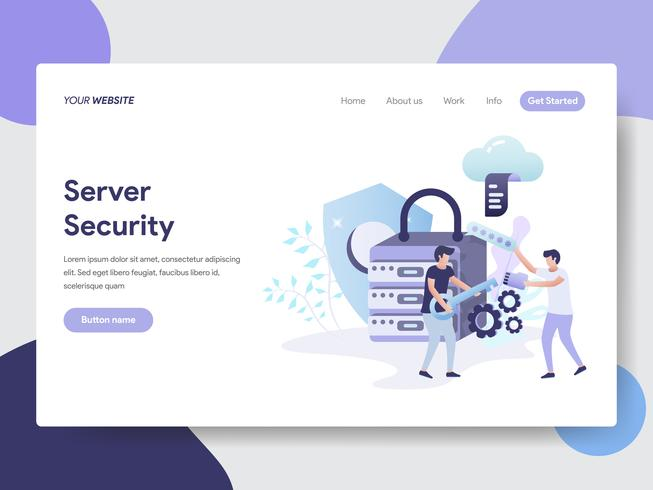 Plantilla de la página de destino del concepto de ilustración de seguridad del servidor. Concepto de diseño plano moderno de diseño de página web para sitio web y sitio web móvil. Ilustración de vector