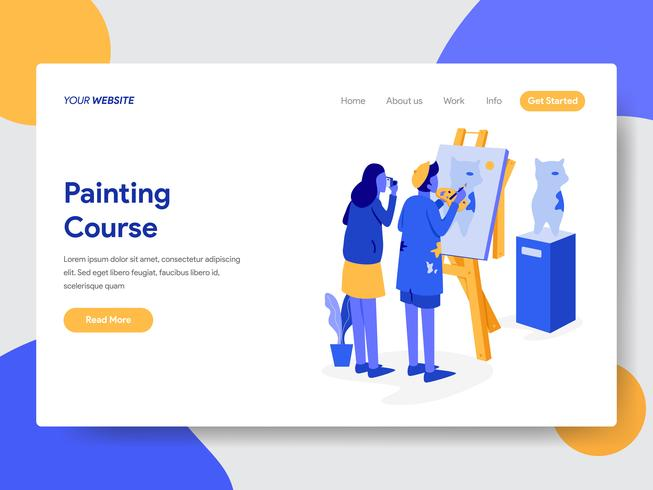 Modello della pagina di atterraggio del concetto dell'illustrazione di corso della pittura. Concetto di design piatto moderno di progettazione di pagine Web per sito Web e sito Web mobile. Illustrazione di vettore