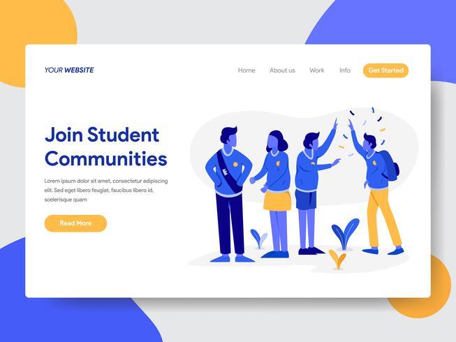 Modello di pagina di destinazione di Student Community Illustration Concept. Concetto di design piatto moderno di progettazione di pagine Web per sito Web e sito Web mobile. Illustrazione di vettore