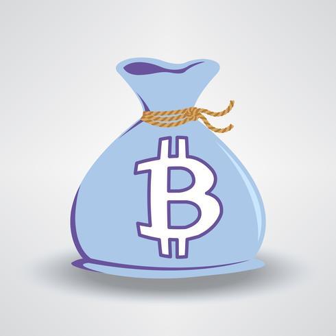 Bolsa de dinero azul bitcoin vector
