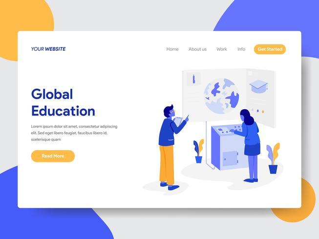 Målsida mall för Global Education Illustration Concept. Modernt plattdesignkoncept av webbdesign för webbplats och mobilwebbplats. Vektorns illustration