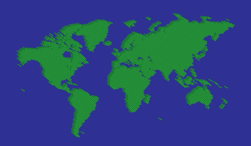 Isometric tetragon world map vector green on blue