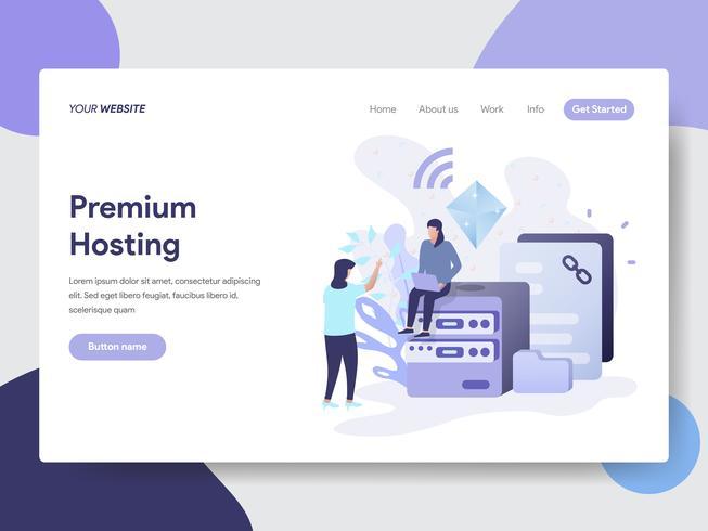 Landing page template of Premium Hosting Illustration Concept. Modern flat design concept of web page design for website and mobile website.Vector illustration