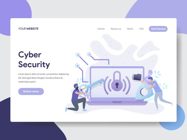 Landing page template of Cyber Security Illustration Concept. Modern flat design concept of web page design for website and mobile website.Vector illustration vector