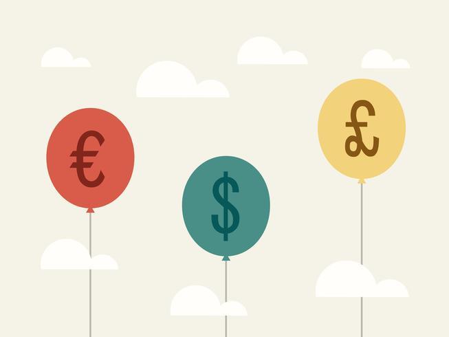 Währung. Geschäftskonzept-Karikaturillustration.