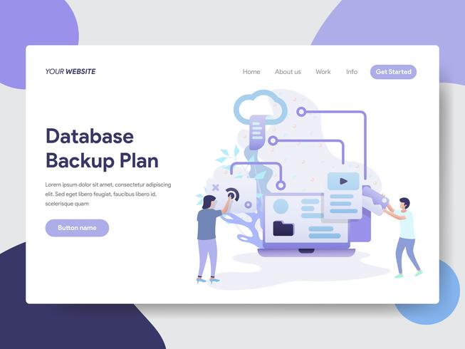 Landing page template of Database Backup Plan Illustration Concept. Modern flat design concept of web page design for website and mobile website.Vector illustration vector