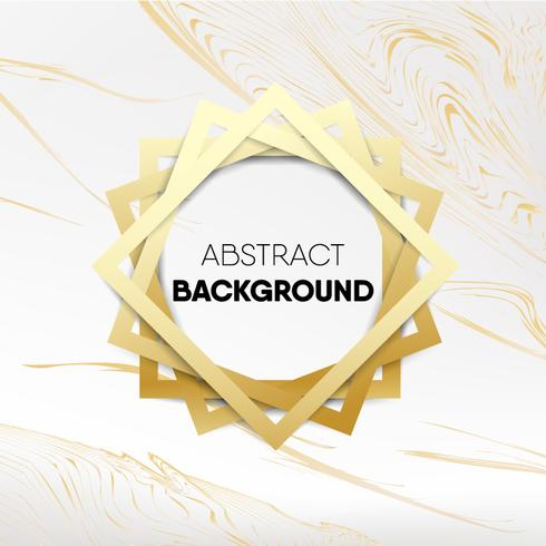 Decorative Gold Frame On Golden Marble Background Vector
