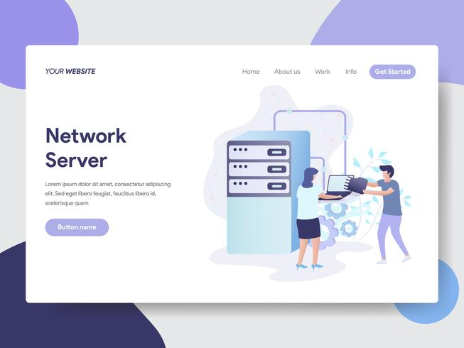 Landing page template of Network Server Illustration Concept. Modern flat design concept of web page design for website and mobile website.Vector illustration vector