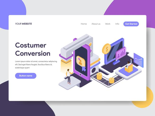 Plantilla de la página de destino del concepto de ilustración de conversión de cliente. Concepto de diseño plano isométrico de diseño de página web para sitio web y sitio web móvil. vector